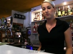Barmaid Lenka bumped so large for money