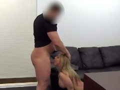 Bosomy milf Jessica does ass to mouth at casting