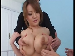 Big breasted Japanese chick fondled by two cocks