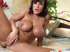 Sexy Pornstar Lisa Ann pussy play close up