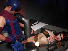 2 lesbo super heroines tease and fuck every other to intense climax