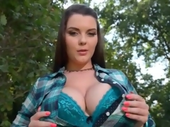 Curvy gal Cherry Blush does a sexy dance outdoors