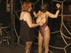 Strict Lesbian Dominatrix Torture Their Naturally Busty Disciple