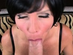 Busty starlet Shay Evil one deep-throats a chubby gumshoe in a POV video
