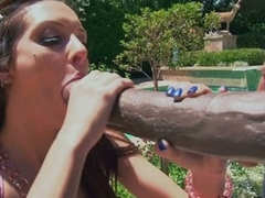 Cock whore Stephanie Kane eats up a giant dose of hot man meat