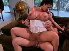 Look at this crazy brunette hair bitch with such huge melons as she takes...