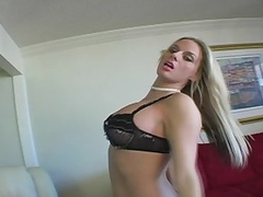 In sexy black lingerie Melissa does a tasty dance