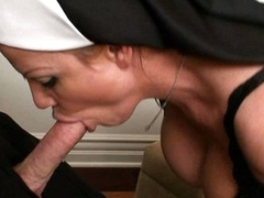 Naughty nun Kelly Madison sucks and copulates stiff prick