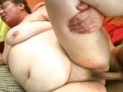 Big fat grandma blows him and then gets nailed