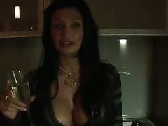 Amazing brunette bombshell Aletta Ocean with big boobs and hawt plump lips after hawt party
