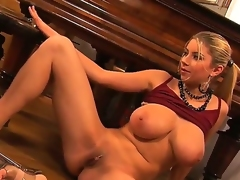 Busty and crazy hottie named Snow widens her legs and masturbates with her fingers