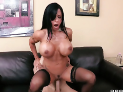 Jewels Jade with juicy breasts takes Johnny Sinss cum loaded man meat in her juicy spot