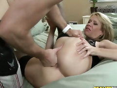 Blonde does lewd things and then gets her lovely face covered in man cream