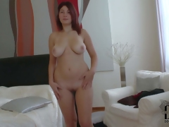 Attractive pale redhead babe Nanny with curvy hips and big natural hooters acquires exposed and teases dirty dude whilst he films her in bedroom in point of view