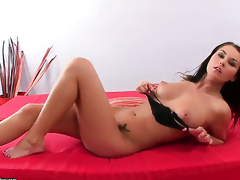 Antonya with massive boobs is in the mood for pussy dildoing