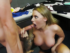 Juelz Ventura with big knockers and bald beaver gets the hole between her legs rammed by Joey Brass