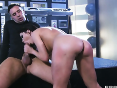 With big boobs makes Keiran Lee happy by eating his dick before she takes it in her bum