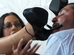 Dark-haired Emma Gazoo swallows a huge delicious wiener