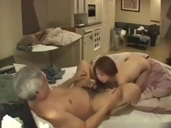 Homemade voyeur clip with old guy fucking an Asian gal