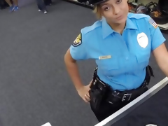 Security officer pawns her stuff and drilled in the backroom