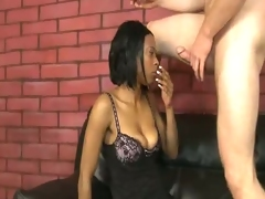 Lavender pukes when face-fucked by big black cock.