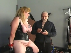 Big tit blonde in leather sucks and rides sex tool with helping of her master