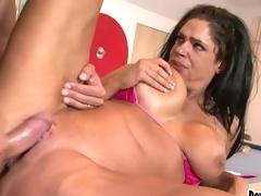Gorgeous babe Angela Aspen takes a massive hard dick deep in her juicy moist twa
