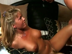 Cum craving honey Chennin Blanc receives a thick spurt of cum on her mouth