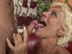 Horny grandma goes crazy hot in a young man's throbbing cock
