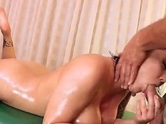 Naked MILF Claire Dames with fake huge tits and smooth pussy shows off her nice body to lucky dude on massage table. She gets her snatch licked and then fucked hard. Shes so fucking sexy!