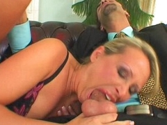 Mandy Bright having her little mom mouth throatfucked hard with a chunky dick