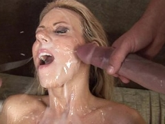 Carolyn Reese lets a hard cock unload all over her pretty face