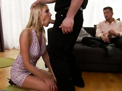 Blonde Teena Dolly has some dirty fantasies to be fulfilled with guys throbbing schlong in her mouth