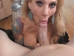 Tattooed Milf Sarah Jessie Shows Cock sucking Skill