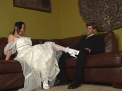 Obese bride is screwed by two horny dudes