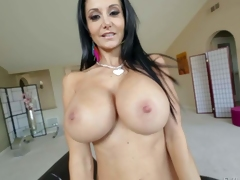 Topless milfyf brunette Ava Addams in panties and shoes is proud of her unthinkably huge melons. She shows off her killer mounds with smile on her face. She loves playing with her oiled up tatas