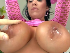 Sienna West is a gorgeous black haired hawt milf with bubble ass and huge tits. She spreads her round buttocks in front of a lucky guy before she gets her massive tits licked. She removes her pink fishnet dress and shows her assets