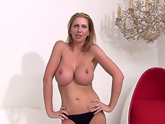 Enjoy seeing the cool-looking scene with fascinating busty woman Leigh Darby. The mature lady is going to demonstrate her body before starting to rub twat by fingers.