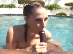 Huge titted minx tastes two extreme black dicks