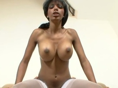Big tits horny babe fucked hard into her tight pussy !