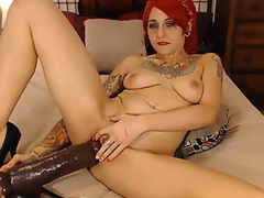 Hot Tattoo Babe Enjoys her Huge Sex tool