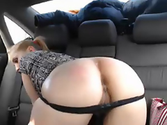 Pretty Blonde Babe Masturbating in Car