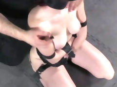 BDSM sub in slave mask getting spanked