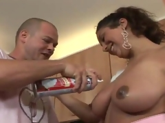 Porno in the Kitchen all over A  Smut miss about Freaky real cups