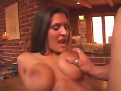 If you want to get into Austin Kincaids pants, then the best way to do that would be to massage her huge tits. Watch as this babe has her huge scoops fondled which got her so hot and horny that finally, this babe laid down on the kitchen table for some serious shagging.