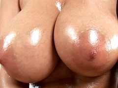 Oiled bawdy cleft is rubbed