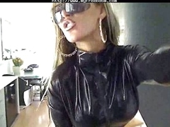 Big tits blonde babe nearly latex suit