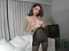 Pantyhose fetish play with busty on the level beauty