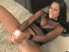 Cassandra Cruz inserts her thick rubber toy in her pussy hole