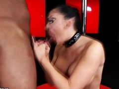 Filthy whore Aletta Ocean munches a massive dick with joy